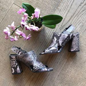 Topshop Lizard Grain Silver Studded Sandals